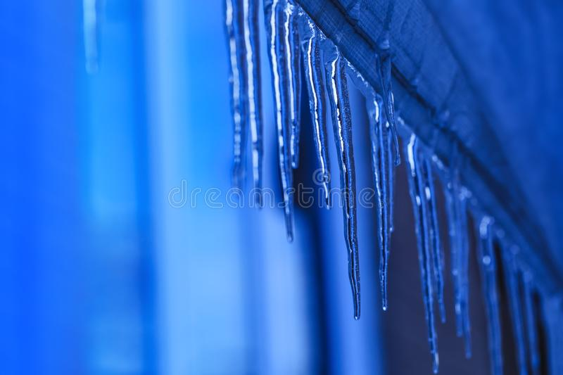 Hanging icicle during the spring time. Melting icicles with crystal texture on winter background. Water drops falling from stock photo
