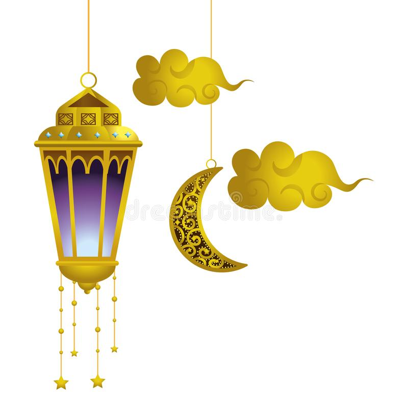 Hanging lamp moon and clouds stock illustration