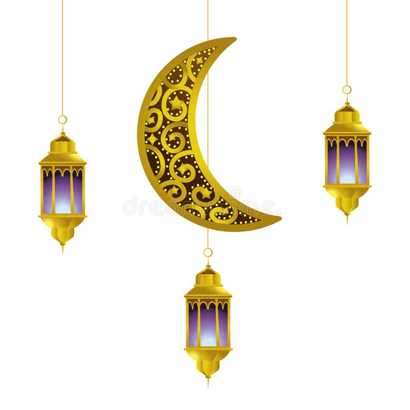 Hanging lamp and moon vector illustration