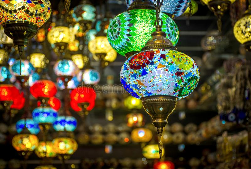 Hanging Lamp shot from spice gold souk Place to visit in dubai royalty free stock images