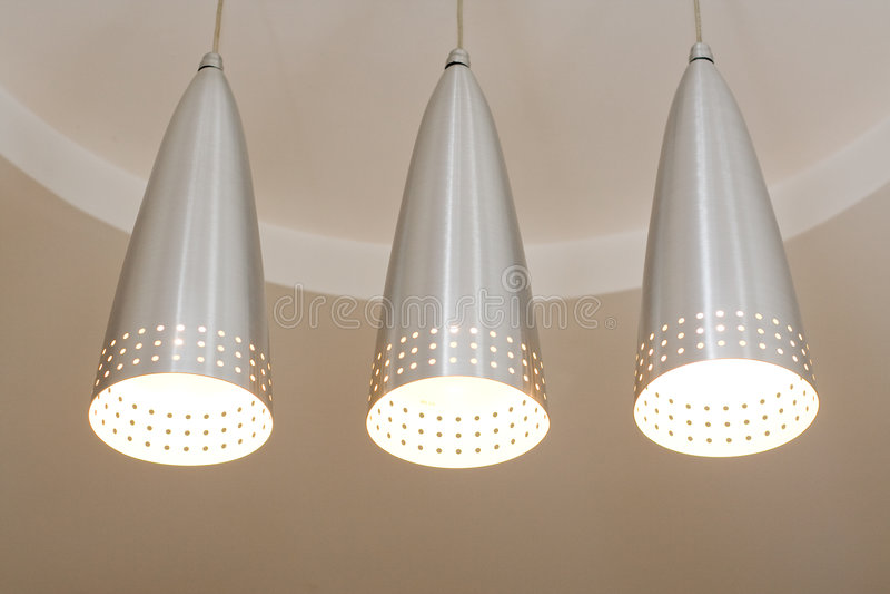 hanging lamps steel στοκ φωτογραφία
