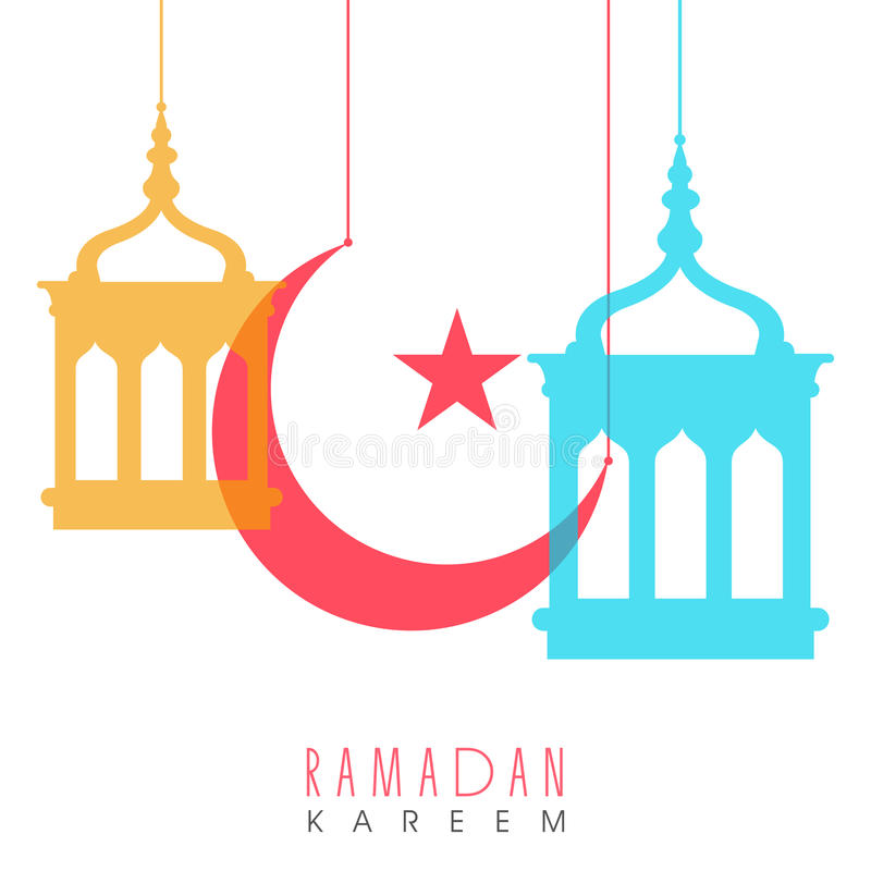 Download Hanging Lanterns With Moon For Ramadan Kareem Stock Illustration