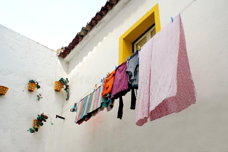 Hanging laundry stock image