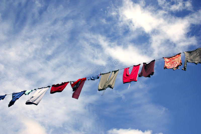 Download Hanging Laundry Against Beautiful Sky Stock Image - Image of cleaning, outfit: 27999897
