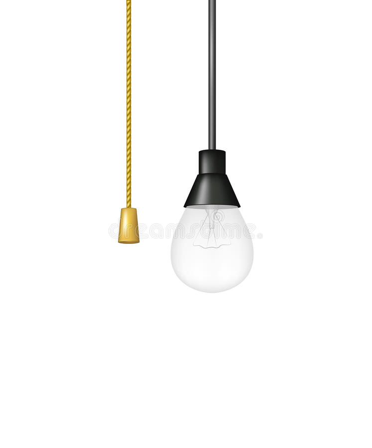 Hanging Light Bulb With Cord Switch Stock Vector Ilration Of Lamp Rope