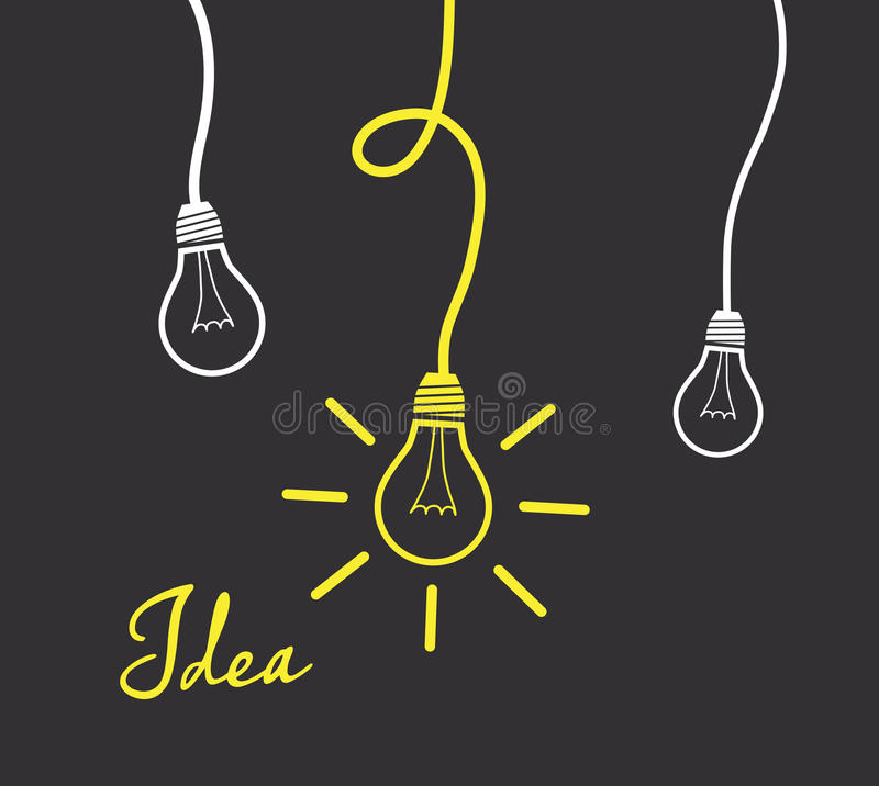 Free Hanging Light Bulbs Reminding Of An Idea Stock Photo - 98853930
