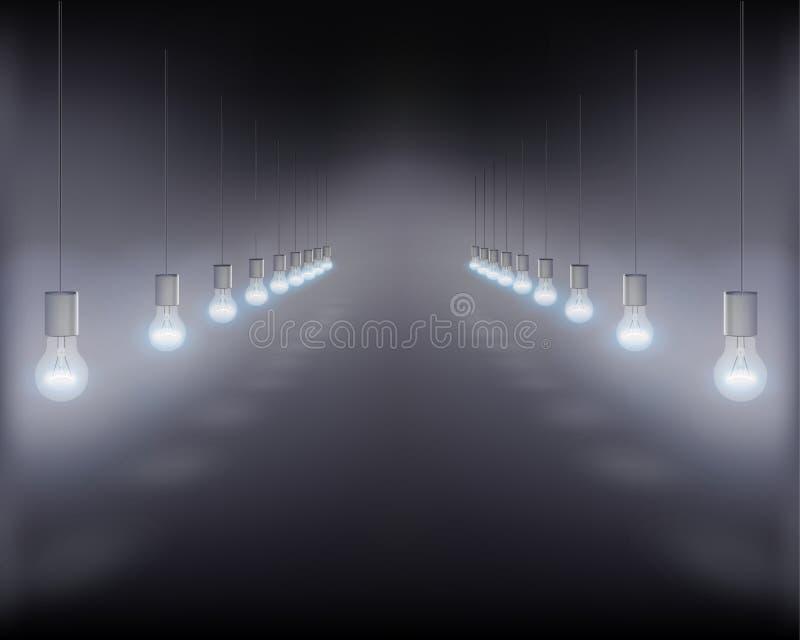 Hanging light bulbs. Vector illustration. vector illustration