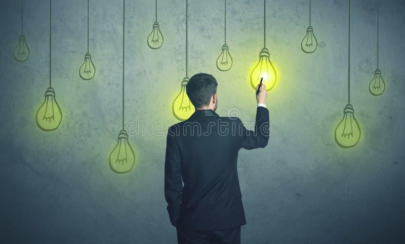 Hanging lighting bulbs stock image