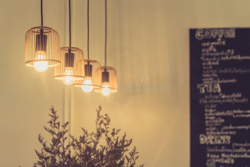 Hanging Lighting Interior Design Of Coffee Shop. Stock Image - Image ...