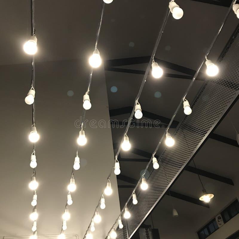 Hanging lights indoor decoration stock photo