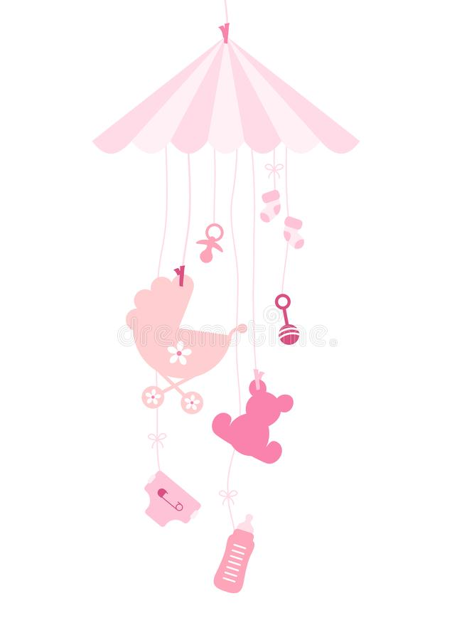 Hanging Mobilé Seven Baby Icons Girl Pink vector illustration