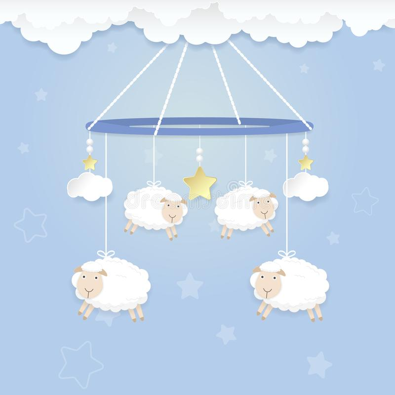 Hanging mobile of baby with sheep toy and cloud for shower card, greeting card stock illustration
