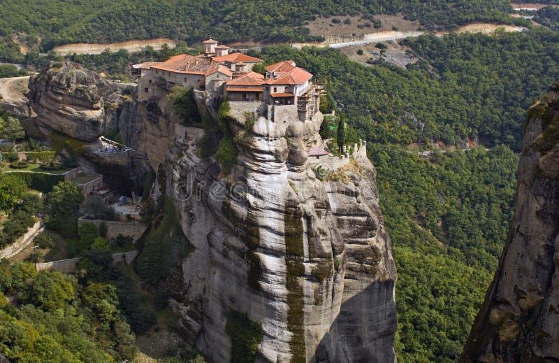 Hanging monastery at Meteora, Greece stock photos