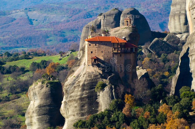 Hanging monastery at Meteora of Kalampaka in Greece. The Meteora area is on UNESCO World Heritage List since 1988 royalty free stock photos