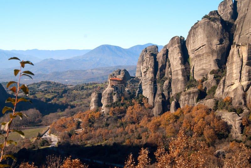 Hanging monastery at Meteora of Kalampaka in Greece. The Meteora area is on UNESCO World Heritage List since 1988 stock image
