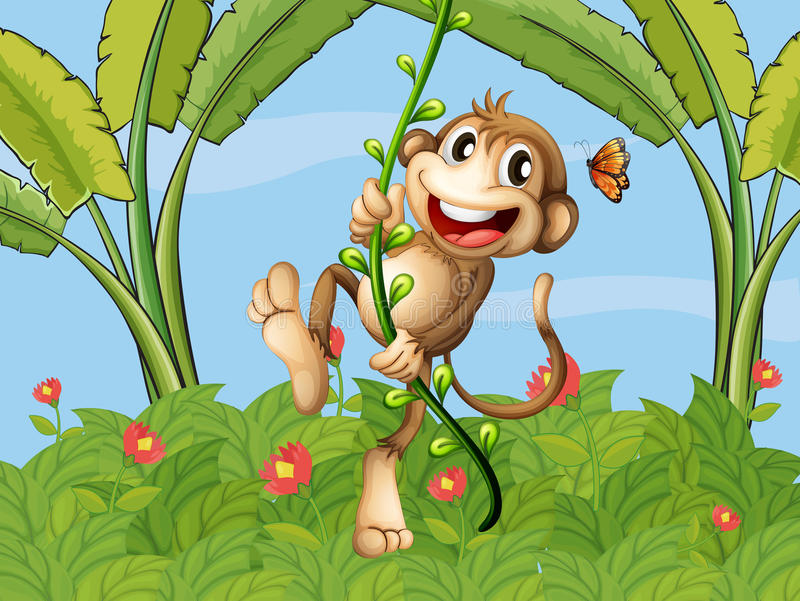 A hanging monkey stock illustration