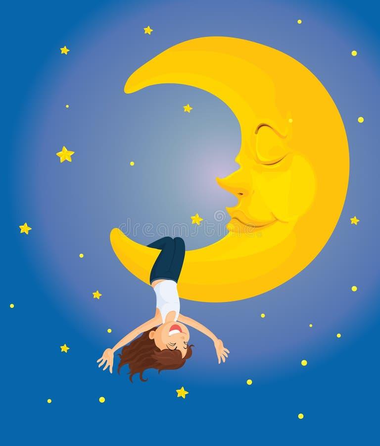 Hanging on the moon stock illustration