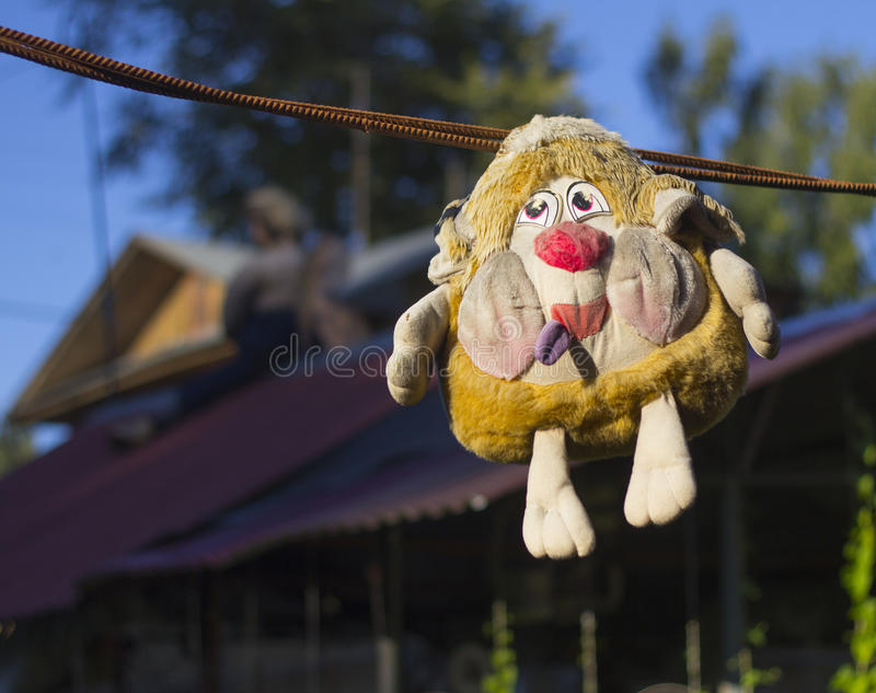 Hanging old toy stock photo