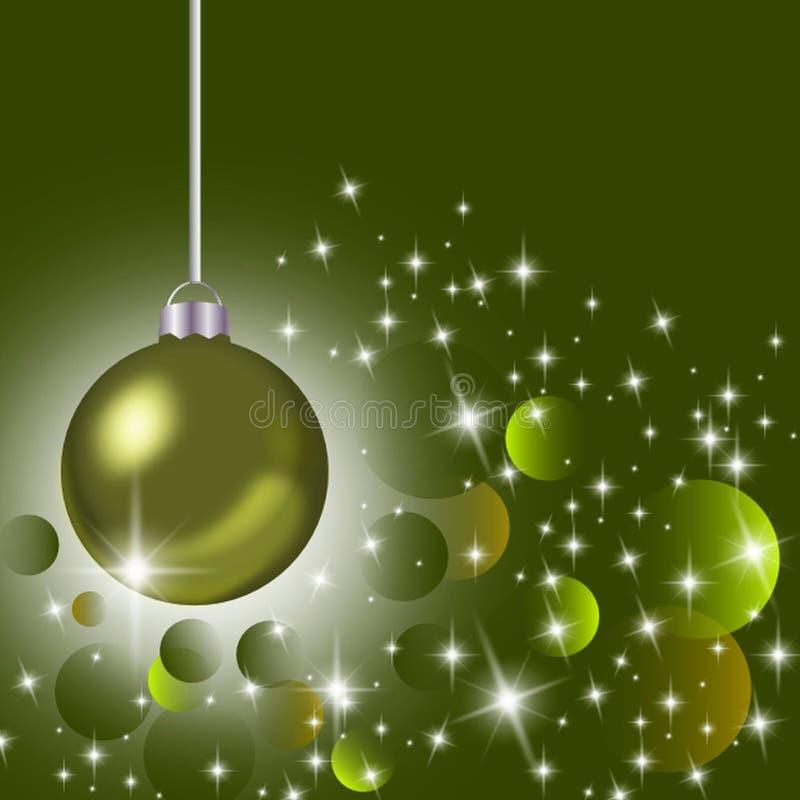 Hanging olive green Christmas ornament stock illustration