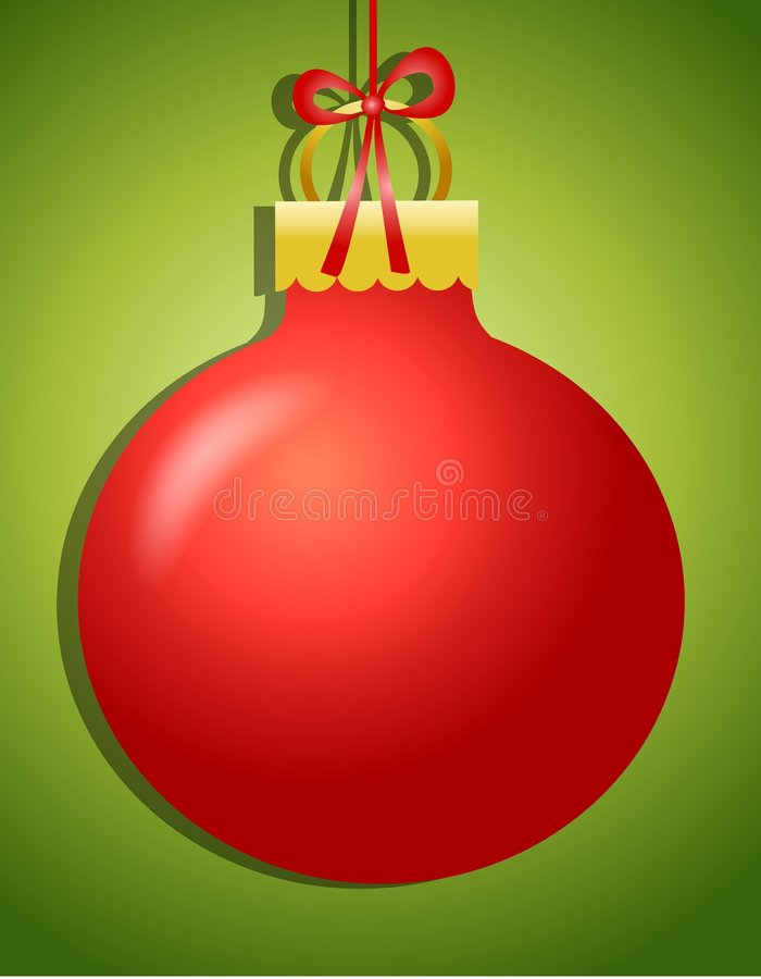 Hanging Ornament Background. A background illustration featuring a large red and gold ornament hanging against green background royalty free illustration