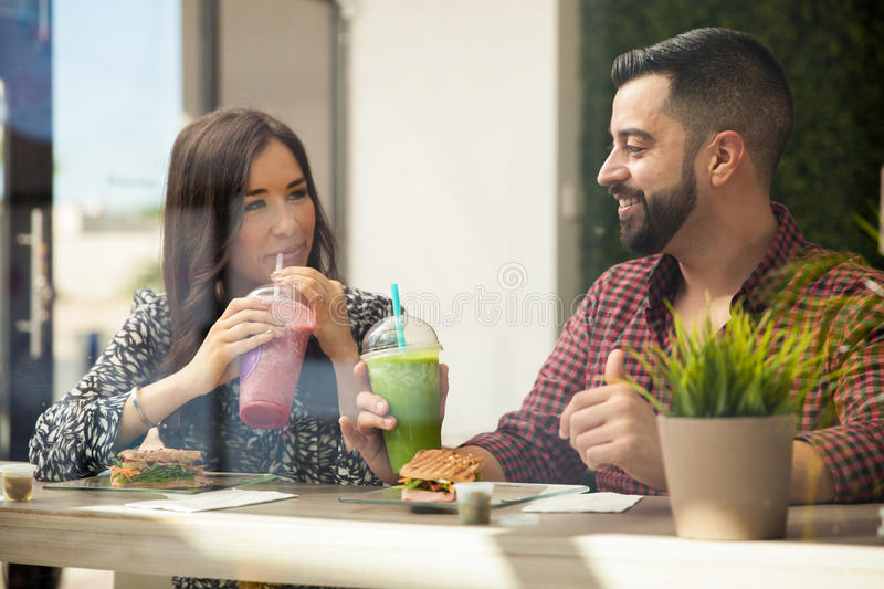 Hanging out at a juice bar royalty free stock images