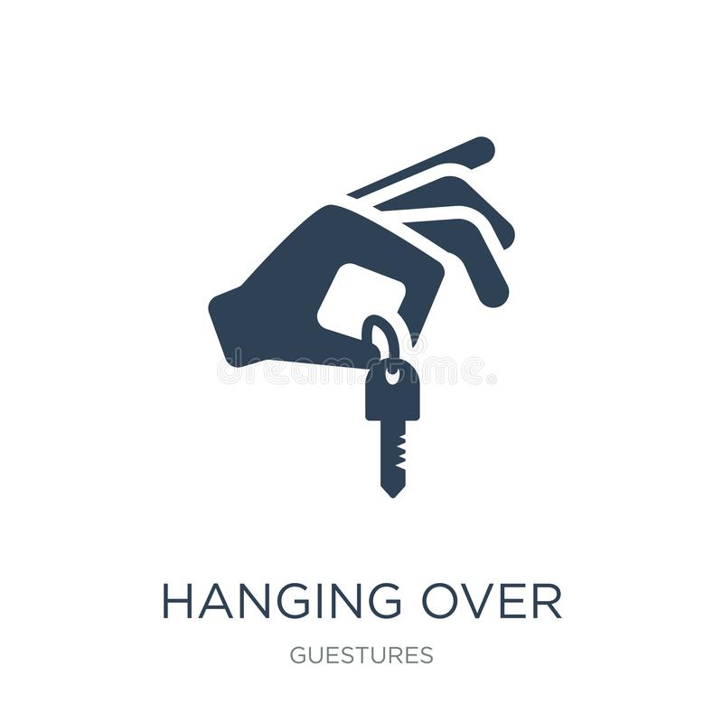 hanging over the key icon in trendy design style. hanging over the key icon isolated on white background. hanging over the key stock illustration