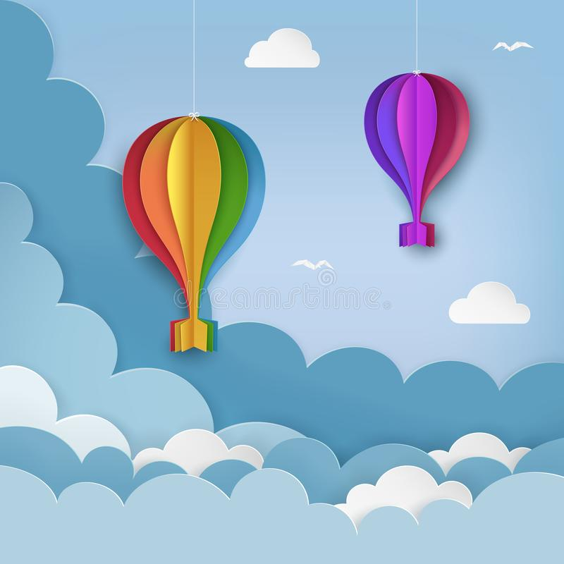 Hanging paper craft hot air balloons, flying birds, clouds on the daytime sky background. Cloudy sky background. Minimal summertime scene. Paper hot air royalty free illustration