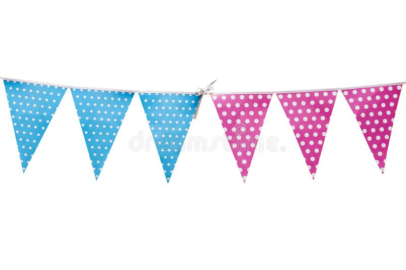 Hanging party flags isolated on white background, decorate items for festival, celebrate event. Decoration for the holidays. Hanging party flags isolated on vector illustration