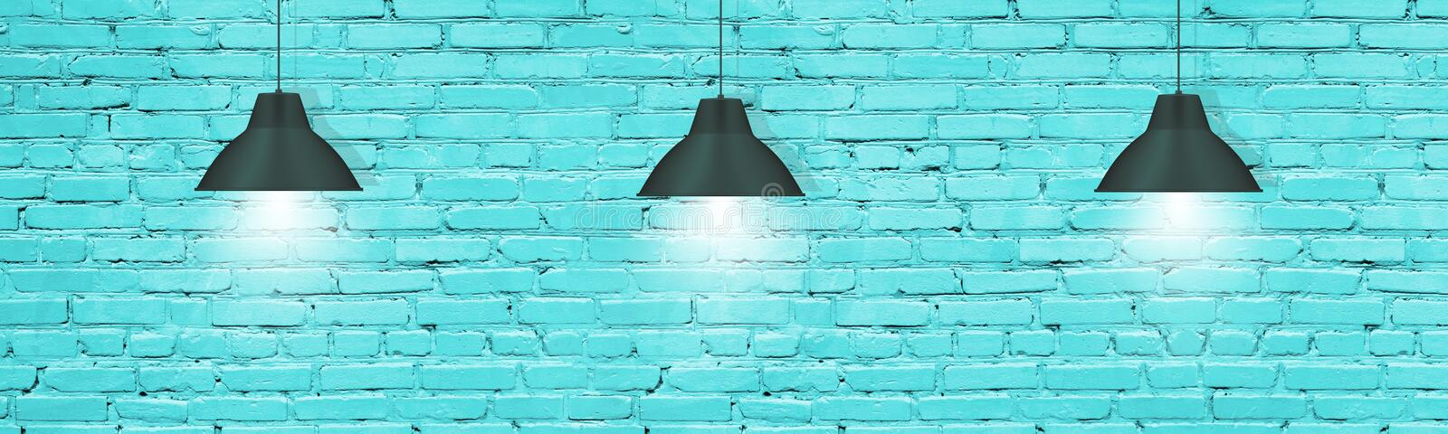 Pendant lamps against turquoise painted brick wall. Modern industrial interior background. Hanging pendant lamps against turquoise painted brick wall. Modern royalty free stock photos
