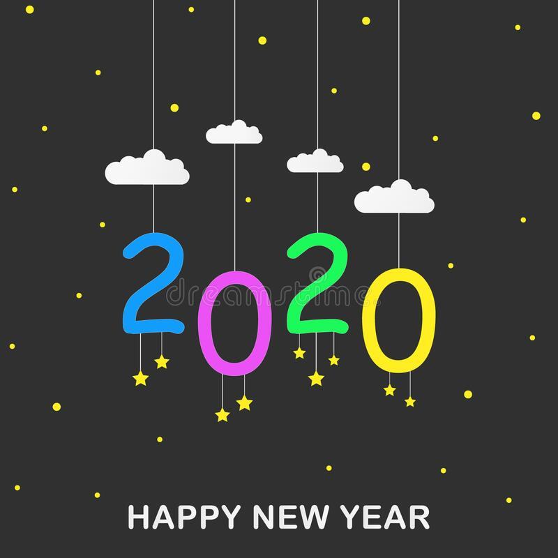 Hanging portrait 2020 happy new year illustration design in dark background with cloud, star, in the sky concept. Flat style. stock photography