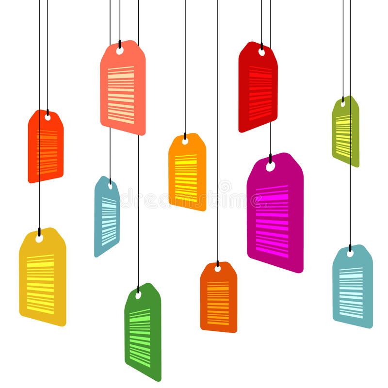 Hanging pricetags with barcodes. On white stock illustration