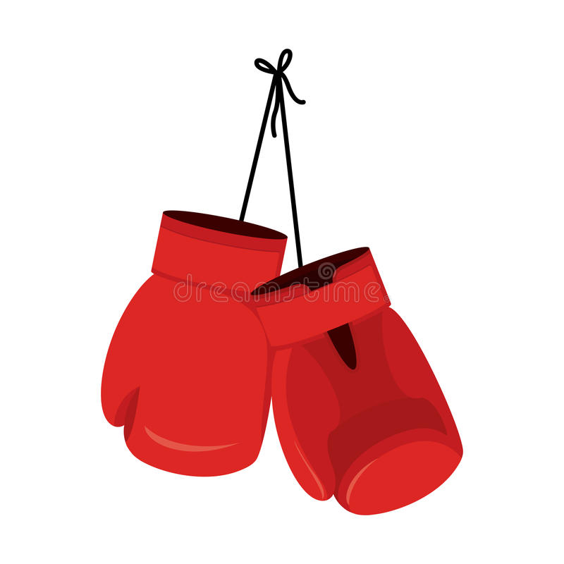 Hanging red boxing gloves. Accessory for boxer. sports equipment vector illustration