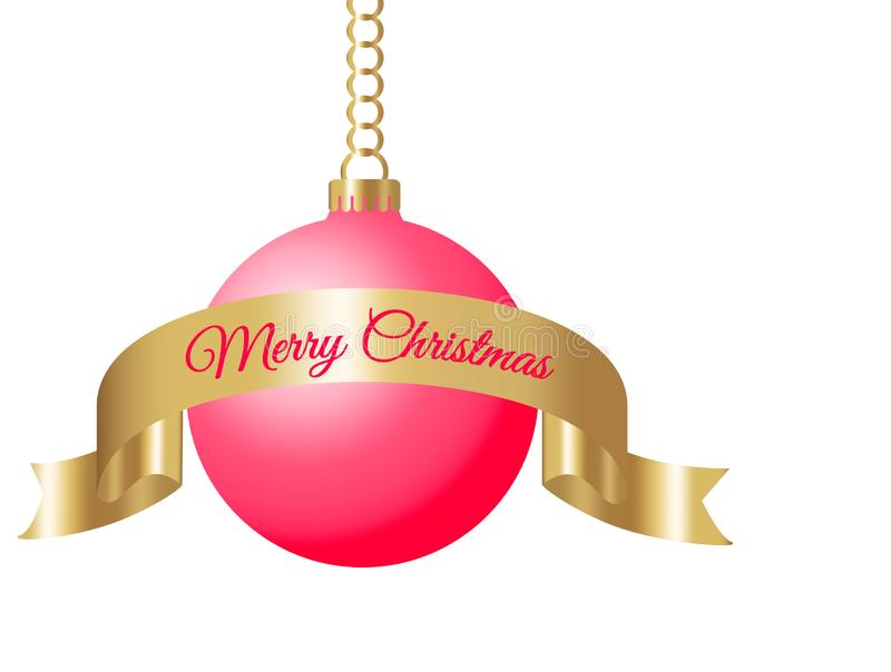 Hanging red christmas ball on golden chain with gold silk ribbon and sign merry christmas isolated on white background vector. Illustration vector illustration