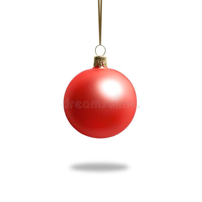 Hanging red christmas ball. Hanging christmas ball on white. Red bauble with shine stock photos