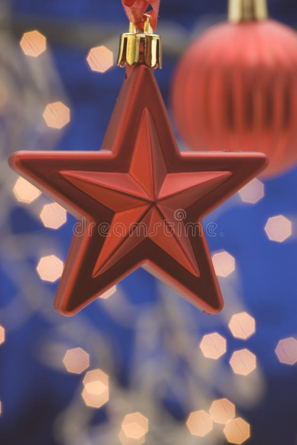 Download Hanging red Christmas star stock image. Image of lights - 11179395