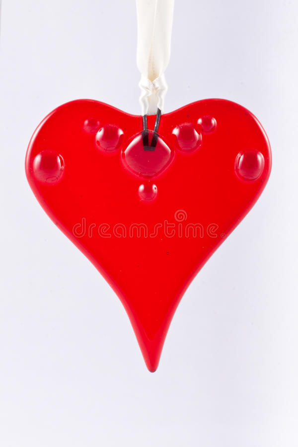 Hanging Red Glass Heart