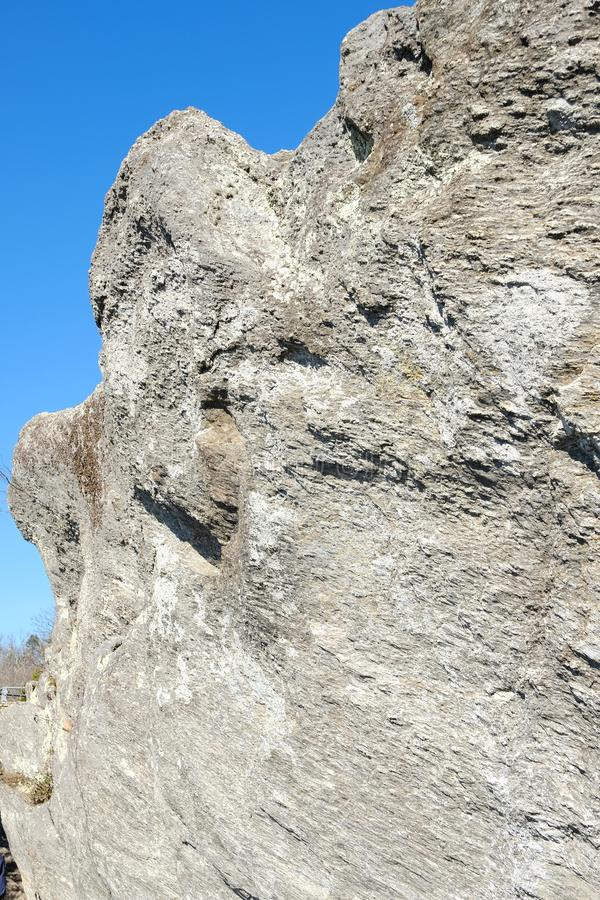 Hanging rock in North Carolina. A single rock in the mountain of Carolinas royalty free stock photos
