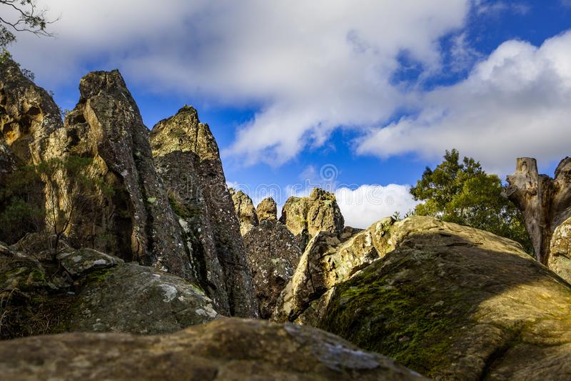 Hanging Rock - sacred volcanic rock formation. stock image