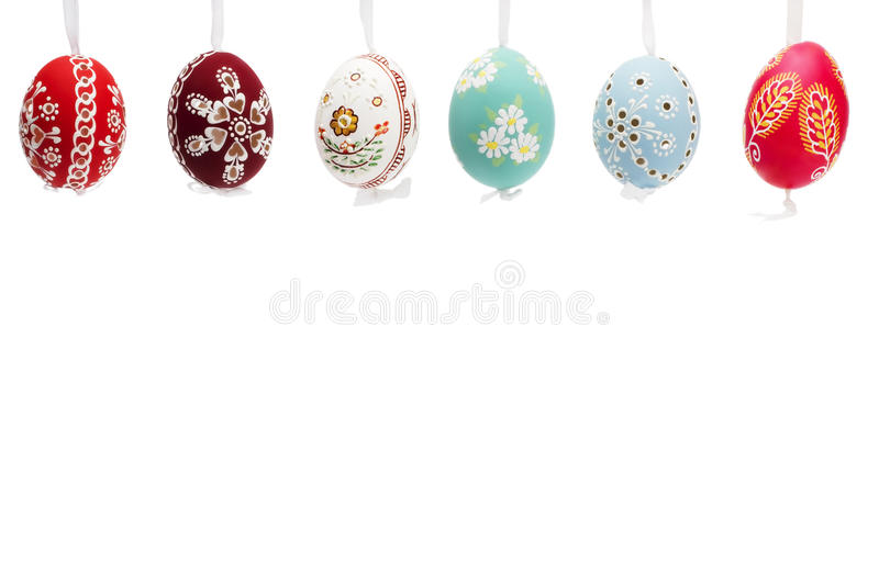 Download Hanging Row Of Hand Painted Easter Eggs Stock Image - Image: 18275571