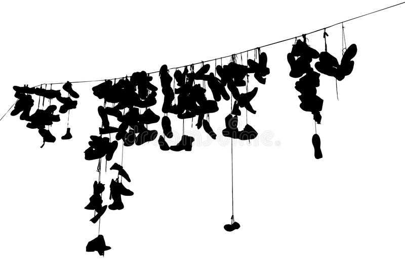 Hanging shoes silhuette