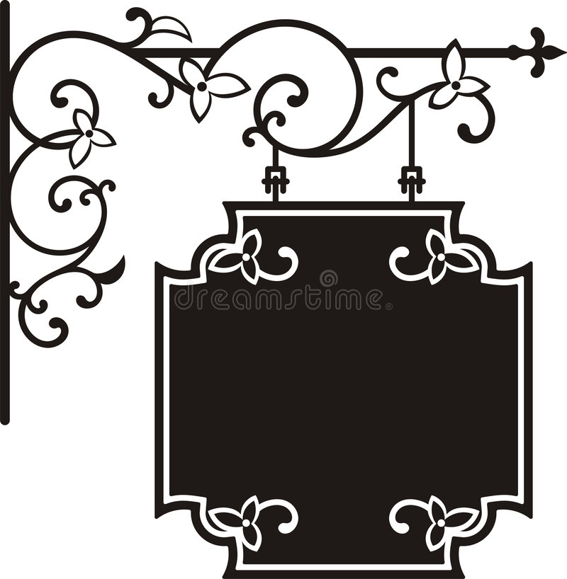 Hanging sign. With wrought iron ornaments and floral details, vector series stock illustration