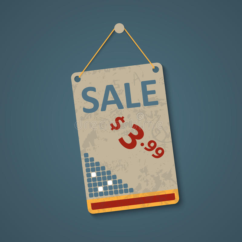 Hanging sign for pricing vector illustration