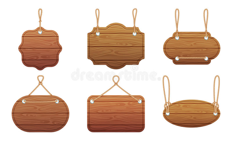 Hanging signs with wood texture isolate on white background. Vector illustration set stock illustration
