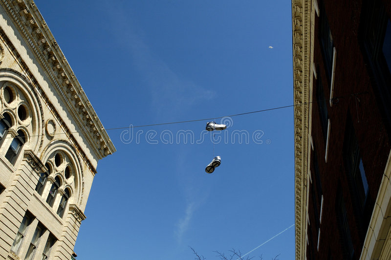 Download Hanging Sneakers stock photo. Image of hanging, waste, buildings - 116488
