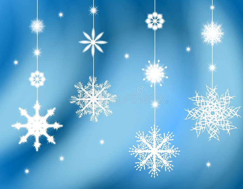 Hanging Snowflake Ornaments Background. A background illustration featuring hanging snowflake ornaments against a blue gradient soft background royalty free illustration