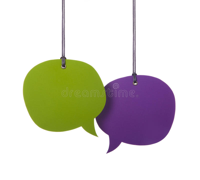 Hanging Speech Bubbles. Hanging two colorful speech bubbles stock images