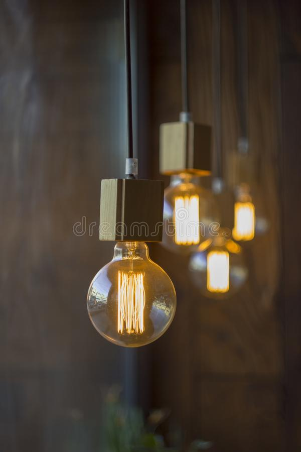Hanging spheric retro vintage edison incandescent bulbs against a blurred brown wall with a wooden texture and green flowers stock image