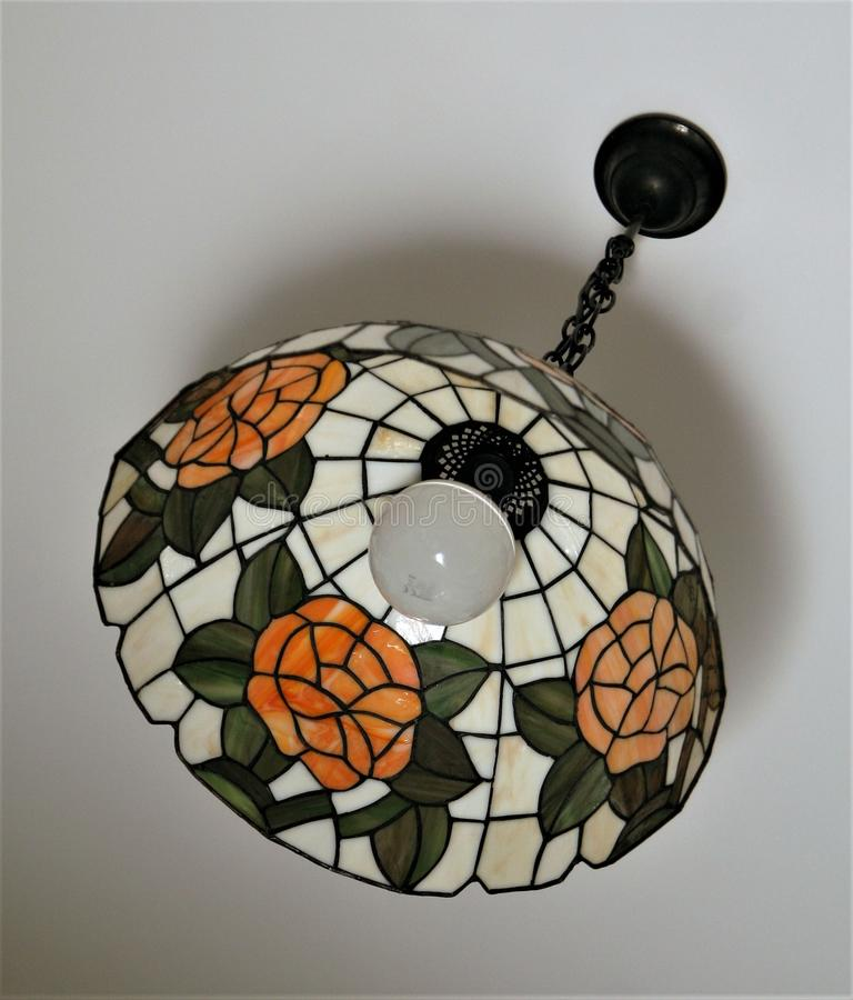 The hanging stained glass lamp royalty free stock photography