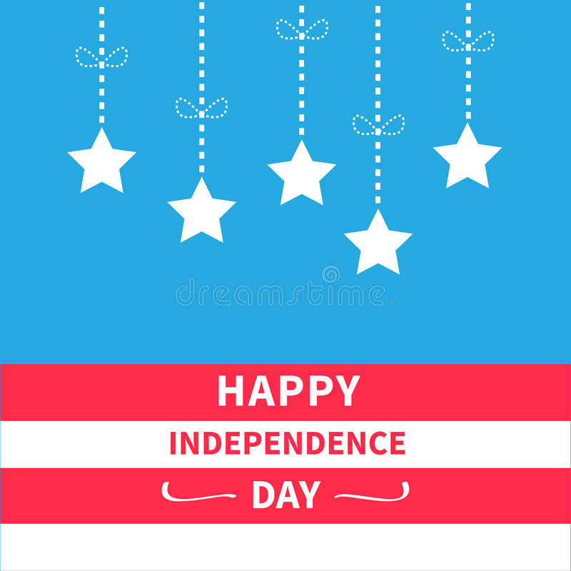 Hanging stars with dash line bow Srip background Happy independence day United states of America. 4th of July. Flat design vector illustration