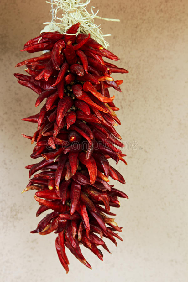 Free Hanging Strand Of Red Chili Peppers Stock Photo - 9741090